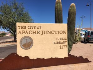 Exterior signage for Apache Junction, Arizona, library